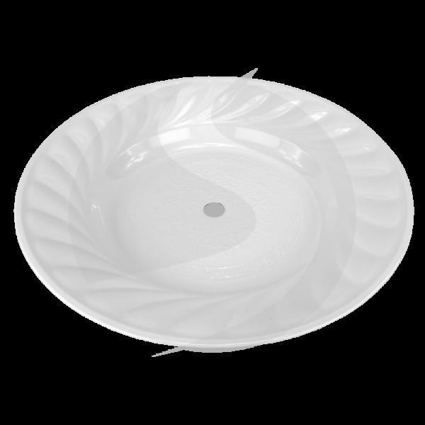 Riesen-Kohleteller verziert 35cm - Weiß
