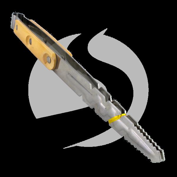 Edelstahl Kohlezange XL - Wood Grip